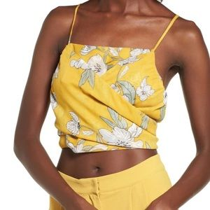 Chriselle J.O.A Yellow Floral Crop Top Size XL